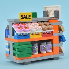 Lego market sale stand - Lego - - New Ideas Lego Girls, Lego For Kids, Lego Modular, Lego Design, Legos, Lego Poster, Lego Food, Lego Furniture, Minecraft Furniture