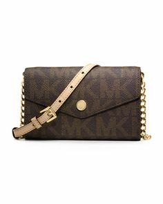 MICHAEL Michael Kors  Logo-Print iPhone 5 Crossbody.Brown logo-print PVC. Front flap snap close. Chain and leather crossbody strap.  Style Number: 32F3GELC1B
