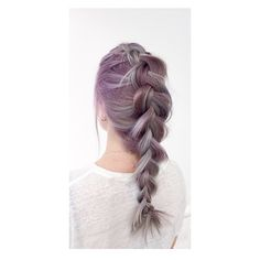 Violet hair colour with french braid by Sue @ Salon B, Amsterdam centrum