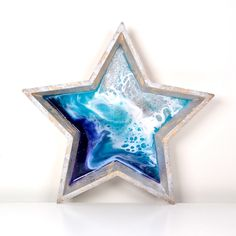 Epoxy silver star!  Handmade and for sale  for just  €35 !! Just click on the photo to go to my etsy shop!  #epoxyart #forsale #chirstmas #xmas #pressent #Madewithlove