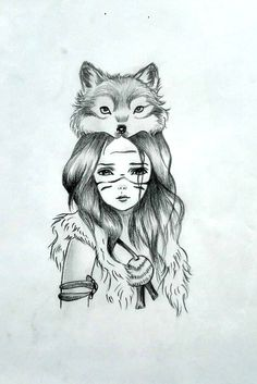 Indian woman with wolf