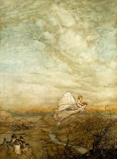 """Bear the changeling child to my bower in fairy land"" (larger study) by Arthur Rackham 