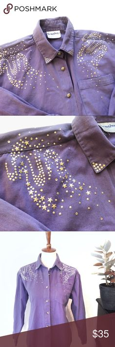 VTG🌟80s Starry Galaxy Urban Cowgirl Button Down Out of this universe! 💜 80's vintage button down blouse in amazing condition! Gorgeous, shimmering star appliqué detail on front & back. Serious rhinestone cowgirl vibe going on here! Made by Graphics. Solid purple shirt, stars & rhinestones are silver. No size on tag, but works best for a women's S/M. Offers welcome! 🌟💜🌟 tags: Anna Sui Zara UNIF Dolls Kill Wrangler Justin Sequin Milky Way J Crew Psychedelic True Vintage Tops Button Down…