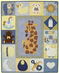baby girl applique quilt patterns | Make an easy baby quilt from this free baby quilt pattern.