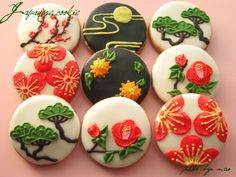 日本人のおやつ♫(^ω^) Japanese Sweets 和柄クッキー。Japanese Pattern cookies Galletas Cookies, Iced Cookies, Cute Cookies, Royal Icing Cookies, Sugar Cookies, Japanese Sweets, Japanese Cookies, Japanese Food, Desserts Japonais