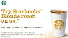 Starbucks: FREE Tall Cup of Blonde Roast Coffee