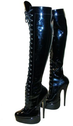 Classic shape fetish platforms with stiletto heels and eyelet and ski hook  fastening. Leather Boots 486da5ed46c9