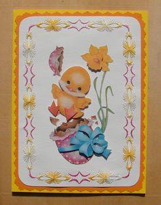 carte brodée Pâques avec image 3D poussin et oeuf : Cartes par cdine08-aux-cartes-de-sandrine