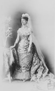 Portrait photograph of the Princess of Wales (1844-1925), later Queen Alexandra, wearing court dress, 1880s