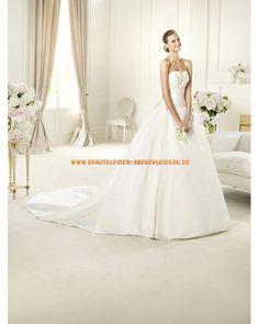 Elegante Brautkleider aus Satin A-Linie mit langer Schleppe online kaufen 2013