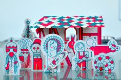 A christmas mailing containing a complete christmas stable & crib.