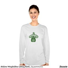 Athlete Weightlifter Lifting Kettlebell Retro T Shirt. 2016 Rio Summer Olympics women's long sleeve shirt showing an illustration of an athlete looking up lifting a kettlebell with both hands viewed from front set on isolated white background done in retro style. #weightlifting #olympics #sports #summergames #rio2016 #olympics2016
