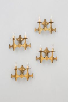 Angelo Brotto; Gilded Bronze Wall Lights for Esperia, 1970s.