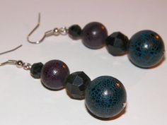Blue and Red Crackle Beads w/Black Facet by BunnyBurrowBoutique, $10.00