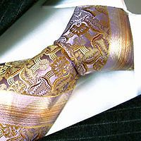 84365 Luxury Italian 100/% Silk Tie Jacquard Woven Gold Blue LORENZO CANA