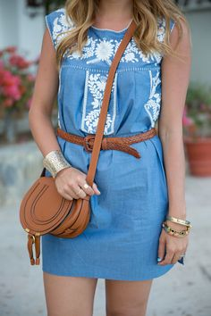 Embroidered chambray shift dress - would be cute as a romper?