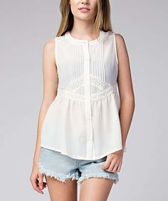 Love this White Lace Button-Up Top on #zulily! #zulilyfinds