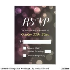 Glitter Bokeh Sparkle Wedding Bridal Shower RSVP Card