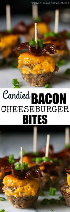 These cute and super tasty Candied Bacon Cheeseburger Bites are the ultimate appetizer for your next party! The amazing flavor combination of sweet, salty, and savory will tantalize your tastebuds and(Easy Meal Prep Ground Turkey) Paleo Recipes, Real Food Recipes, Cooking Recipes, Delicious Recipes, Easy Recipes, Yummy Food, Best Appetizers, Appetizer Recipes, Dinner Recipes