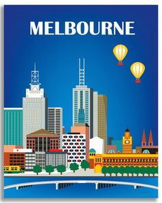 Melbourne, Australia available in an array of finishes, materials, and sizes, this retro inspired wall art will make Melbourne feel close to your heart with its bright color palette and unique design.