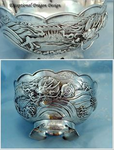 Antique Japanese Sterling Dragon Bowl Meiji from charonsspoilsantiques on Ruby Lane Dragon Bowl, Asian Art Museum, Dragon Sleeve, Year Of The Dragon, Japanese Dragon, Silver Dragon, Japan Art, Ruby Lane, Teapots