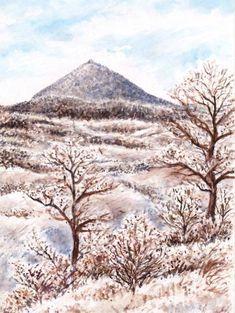SeniorTip Watercolor Landscape, Rocks, Trees, Paintings, Volcanoes, Mountains, Drawings, Nature, Plants
