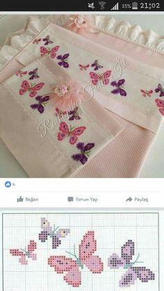 "ayşe şen ""This post was discovered by Sha"", ""Discover thousands of images about"", ""Towel with Cross-Stitch"" Butterfly Cross Stitch, Cross Stitch Borders, Cross Stitch Baby, Cross Stitch Animals, Cross Stitch Flowers, Cross Stitch Charts, Cross Stitch Designs, Cross Stitching, Cross Stitch Embroidery"