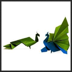 Origami Peacock Free Diagram Download - http://www.papercraftsquare.com/origami-peacock-free-diagram-download.html