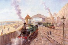 peintures alan fearnley - Page 3 South African Railways, Japan Train, Southern Railways, Steam Railway, Train Art, Old Trains, Steam Locomotive, Steam Engine, Retro