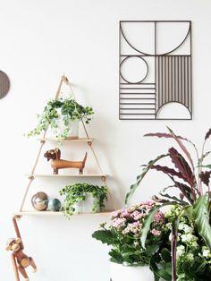 Wood dowel + leather straps Triangle wall shelf