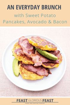 Sweet potato pancakes, avo and bacon are a match made in heaven. The savoury veg packed pancakes pair perfectly with creamy avocado and salty bacon. Brunch Drinks, Brunch Dishes, Brunch Party, How To Prepare Avocado, Sweet Potato Pancakes, Bacon Avocado, Everyday Food, Recipe Collection, Waffle