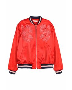 H&M | Embroidered Bomber Jacket | Lyst