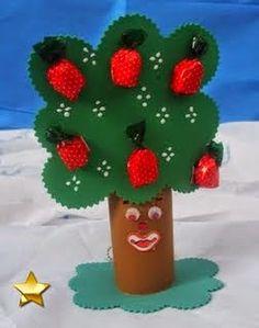 Árvore de eva com molde e balas - lembrancinha para o dia da árvore - ESPAÇO…