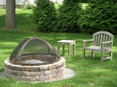Fire Pits Maybe I can talk the hubby into this one since we could get away with it with as long as we bought the cover. Diy Fire Pit, Fire Pit Backyard, Backyard Patio, Backyard Landscaping, Fire Pits, Outdoor Fire, Outdoor Living, Outdoor Decor, Outdoor Barbeque