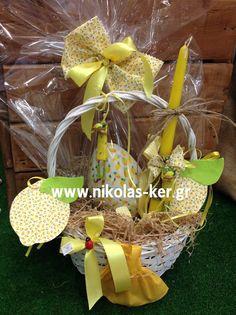 Πασχαλινό καλάθι με lemonita!!! Περιέχει σοκολατένιο αυγό με ζαχαρόπαστα & λαμπάδα! www.nikolas-ker.gr Easter 2014, Grapevine Wreath, Wicker Baskets, Grape Vines, Wreaths, Decor, Decoration, Door Wreaths, Vineyard Vines