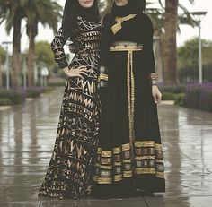 ♥ Muslimah fashion & hijab style love the one on the left more>> Hijab Fashion 2016, Abaya Fashion, Modest Fashion, Muslim Dress, Hijab Dress, Islamic Fashion, Muslim Fashion, Pretty Dresses, Beautiful Dresses