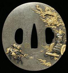Tsuba Samurai Weapons, Katana Swords, Samurai Warrior, Small Sword, Art Of Fighting, Antique Fairs, Japanese Sword, Swords And Daggers, Arm Armor