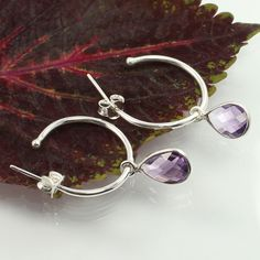Small Beautiful Earrings Real AMETHYST Pear Gemstones 925 Solid Sterling Silver #Unbranded #DropDangle