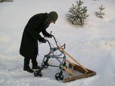Old Man Shovels Snow With Walker Plow. It's working slightly better than when he used it to mow the lawn. old people, snow, engineering, plow, sad Never Grow Old, Never Give Up, In Soviet Russia, Old Folks, The Golden Years, Meanwhile In, Snow Plow, Young At Heart, College Humor