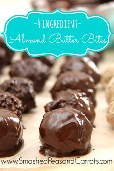 4 Ingredient Almond Butter Bites Recipe {Gluten Free, Dairy Free, Grain Free} - Smashed Peas & Carrots