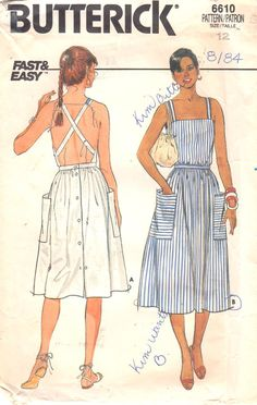 Butterick 6610 Misses Fast and Easy Sun Dress Pattern Criss Cross Back Womens Vintage Sewing Pattern Size 14 Bust 36 UNCUT - Butterick années 80 6610 manque de soleil rapide et par mbchills - Fashion Mode, Diy Fashion, Ideias Fashion, Vintage Fashion, Dress Fashion, Fashion Check, Origami Fashion, Fashion Details, Retro Fashion