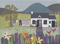 Unframed print of original textile artwork Washing Day. The image shows a pretty white Welsh cottage in a Snowdonia landscape with mountains in the background and a garden with washing drying on the line, chickens, purple slate fence and daffodils. This a a very good quality scan and print of the original fabric illustration. The original, one off, intricate artwork was made by applique and free-motion machine embroidery - cutting pieces of fabric and stitching them together on a sewing…