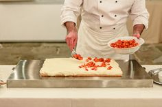 Chef Patrizio placing fresh strawberries on the cream layer of the Mille foglie wedding cake. Siena, Wedding Locations, Strawberries, Wedding Reception, Catering, Wedding Planner, Wedding Cakes, Events, Fresh