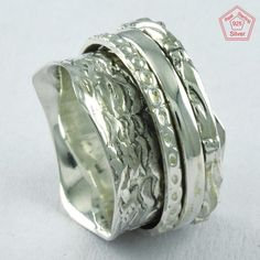 Wavely Hammered Design 925 Sterling Silver Spinner Ring R4728, Sz. 5 US #SilvexImagesIndiaPvtLtd #Spinner #AllOccasions