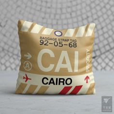 Airport Code Baggage Tag Pillows - City-Themed Gear - YHM Designs – Page 2 Cairo Airport, Baggage Tag, Cat Sitter, Egypt Travel, Cairo Egypt, Tag Design, Practical Gifts, Teacher Appreciation Gifts, Travel Themes