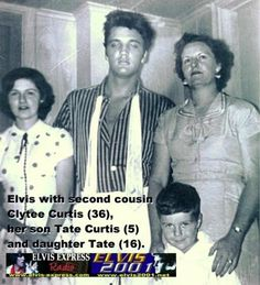 Elvis with second cousin Clytee Curtis 36, her son, Tate Curtis 5 and daughter, Tate 16 #ElvisSerendipity #Elvis #Presley Elvis Presley the King of Rock and Roll