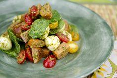Italian Sausage Salad with Pesto, Tomatoes and Mozzarella / @DJ Foodie / DJFoodie.com