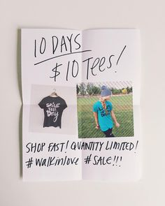 10 DAYS 'TIL CHRISTMAS = $10 TEES! Shop the Clearance tab of our store to view all! Sizes  quantity vary. Enjoy! #walkinlove
