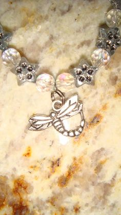 Sparkly stars & beads, Dragonfly pendant Anklet