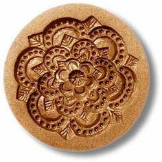 "Floral Rosette springerle cookie mold, dia. 3.3"" (85mm)"